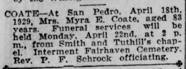 Coate, Myra Parks;obit;Santa Ana Register, April 21, 1929, Sun pg 3 -  Newspapers.com