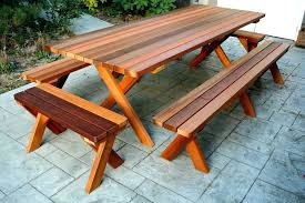 picnic table plans with separate benches