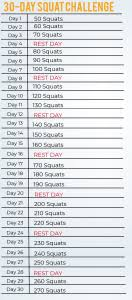 30 Day Leg Challenge Chart Leg Strength 30 Day Squat Challenge Sail1design