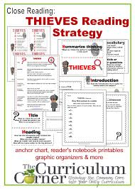 Thieves Reading Strategy Anchor Charts Graphic Organizers