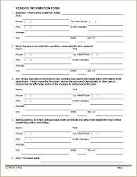 Vendor Information Forms Sample Template Word Excel