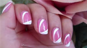 Pink Nail Art Design White Stripe On Pink Elegant And Easy Nail Art For Beginners