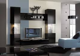 Living Room:Modern Wall Units With Red Tone Has Chinese Style Fits With  Black Wall