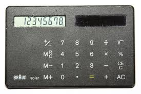 calculator  credit card sized solar powered calculator by braun 1987