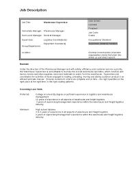 Job Description for Warehouse Supervisor knewledge and skills