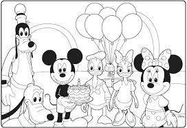 Mickey Mouse Birthday Coloring Pages Mickey Mou Birthday Coloring