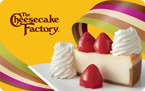 gift card showing fresh strawberry cheesecake
