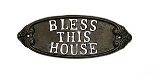 Create a home that is both welcoming and beautiful! Cast Iron Plaque Bless This House Wall Decor Rustic Farm Home