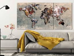 map of decor wood world map wall art carved 3 panel home decor with ipersonic