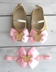 Minnie Mouse First Birthday Shoes Headband Set In Light Pink Etsy
