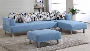 sofas for small spaces. Interesting Small Sweet Blue Sectional Sofa With Chaise A Ottoman Furniture Stripped  Throw Pillows Gray Fluffy Rug In Sofas For Small Spaces M