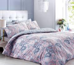 ppaisley peach blue bedding set