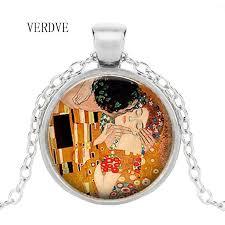 whole verdve brand necklace by gustav klimt kisses klimt art jewelry romantic valentine s day gift lover gift long pendant necklaces pearl pendant