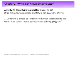 chapter writing an argumentative essay grade common core  chapter 2 writing an argumentative essay grade 8 common core writing companion © perfection learning ®