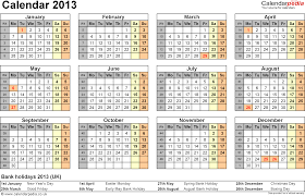 Excel Calendar 2013 UK - 12 printable templates (xls/xlsx, free)