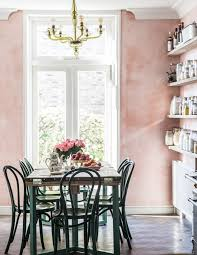 Venetian plaster wall Matte Pink Venetian Plaster Walls In Country Kitchen By Jersey Ice Cream Co Room Of Homedit Room Of The Week Pink Plaster Walls In Farmhouse Kitchen Coco