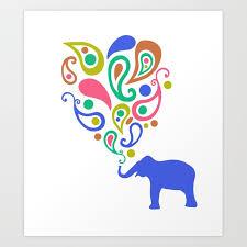 multi colored paisley elephant pattern design art print