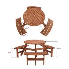 6 seater round picnic table and bench seats sets garden table