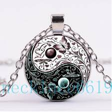 whole yin yang flower erfly necklace pendant gift birthday gift cabochon glass necklace silver black fashion jewelry p 1073 pendant