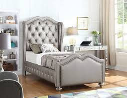 Image Is Loading METALLIC PLATINUM CRYSTAL BUTTON TUFTED TWIN YOUTH WING