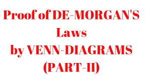 De Morgan S Law With Venn Diagram Proof Of De Morgans Laws By Venn Diagrams Part Ii Q 5 Ex 1 5