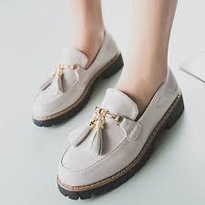 women s preppy style tassel patent leather shoes female casual shoes wh 35 white