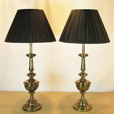 twin brass table lamps