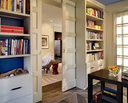 decoration: Impressive Slidding Doors Which Is Painted In White Combined  With Awesome Small Home Library