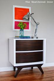 white mid century nightstand. The Weathered Door: White And Java Mid Century Nightstand G