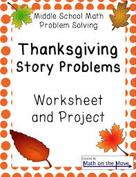 Thanksgiving Word Problems And Project For Middle School