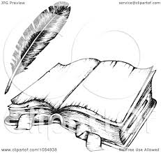 clipart sketched drawing of an open book and feather quill royalty free vector ilration by visekart