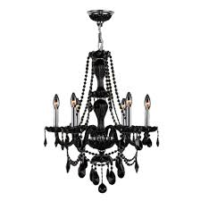 worldwide lighting provence 6 light polished chrome and black crystal chandelier