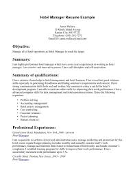 Fair Resume Examples Hospitality Industry On Example For Adorable