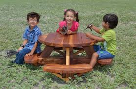 round wooden picnic table for toddlers by forever redwood