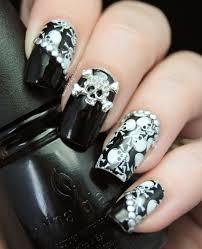 Nail Art Skull Design Intro En Skull Nails Skull Nail Art Gothic Nails