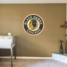 chicago blackhawks vintage logo giant officially licensed nhl removable wall decal fathead