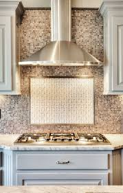 stainless steel vent hood. Chrome Stainless Steel Vent Hood: Painted Kitchen Cabinets: Mosaic Tile Back Splash: Gas Cooktop Stove Http://www.bickimerhomes.com/ Hood N