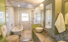 charleston bathtub shower combo with natural stone mosaic tiles bathroom beach style and cloud painted ceiling