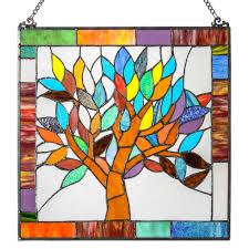 fleur de lis living mystical world tree tiffany style stained glass window panel reviews wayfair