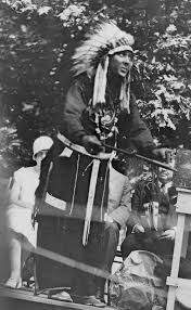chief strong heart of the lenni lenape indians at dedication of indian hannah marker at longwood