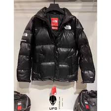 supreme x the north face leather nuptse jacket all black