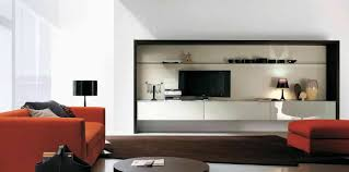 Living Room:Contemporary Open Living Room With Black Wall Units And Storage  Room Divider Cool