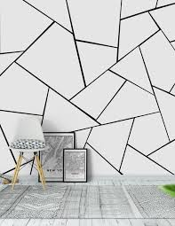 Black White Geometric Glam 1 Wallpaper from Happywall.com | White wall  paint, White wall bedroom, Bedroom wall designs