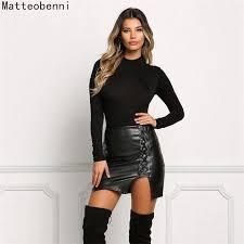 2019 casual pu faux leather skirt women elegant strap split mini a line skirt lady elastic skinny high waist con skirts black from piterr