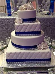 4 Tier Wedding Cake Designs Royal Blue Trimmed 4 Tier Round And Square Wedding Cake