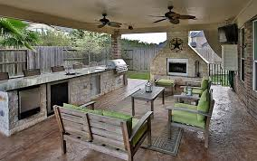 outdoor kitchen with long countertop under covered porch patio with regard to covered patio kitchen ideas