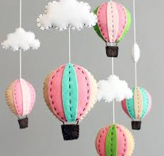 diy baby mobile kit make you own hot air balloon crib mobile pink and green by on face co via folksy mobile montgolfière
