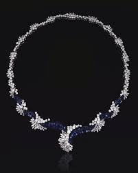 sapphire and diamond necklace late 1960s designed as a series of graduated abstract cers