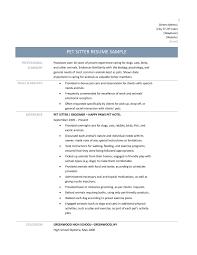 Pet Sitter Profile Examples Pet Sitter Resume Sample My Career Guideline