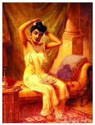 fine art painting a nair woman adorns herself by artist raja ravi varma